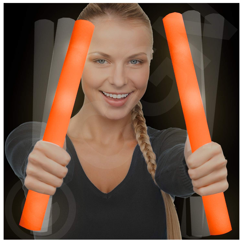 Lumistick LED Foam Baton Cheer Stick | Light Up Flashing Glowing Illuminate for Weddings, Parties, and Dancing Toy (Orange, 12 Pack)