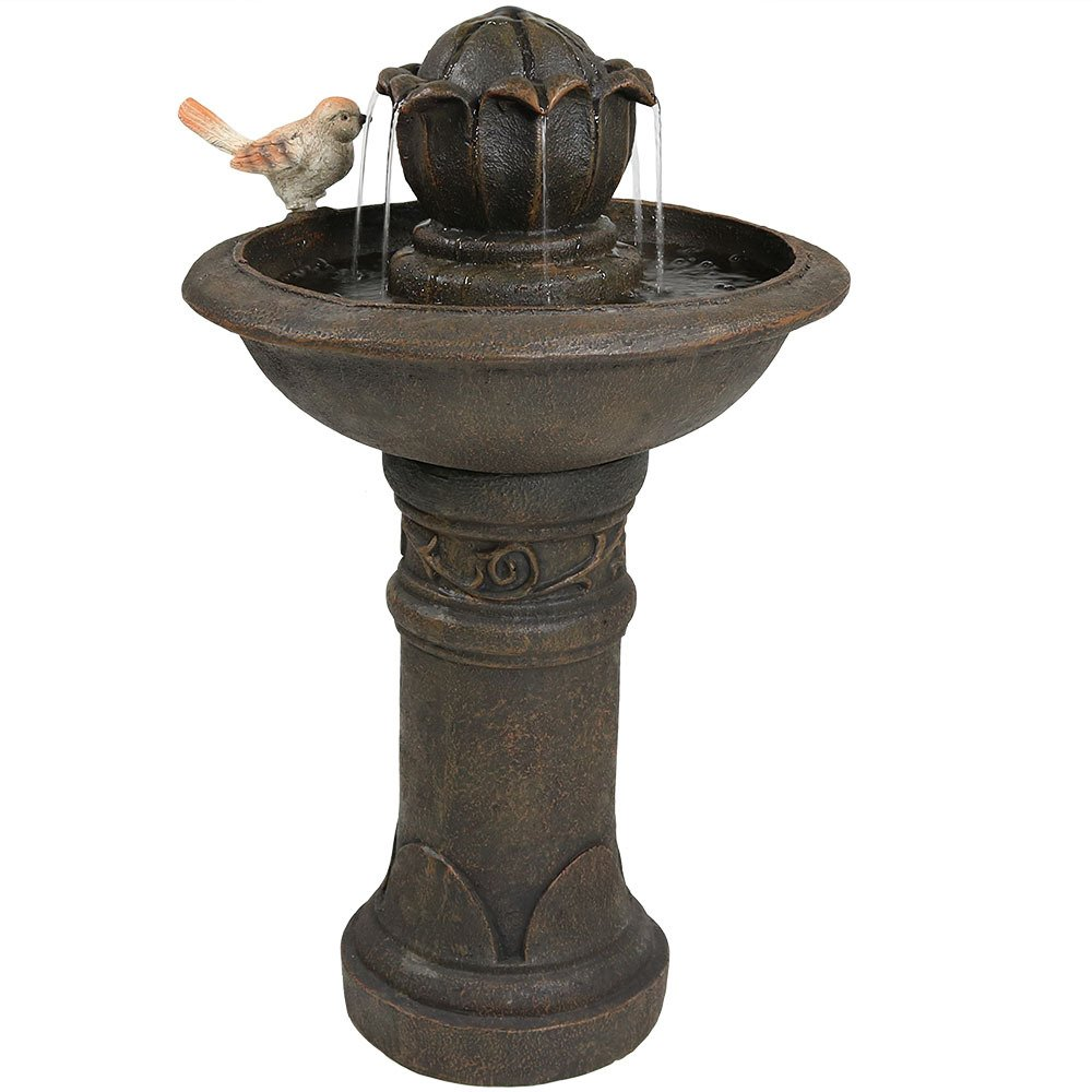 Sunnydaze Blooming Birdbath Outdoor Water Fountain with Bird Accent, 24 Inch by Sunnydaze Decor