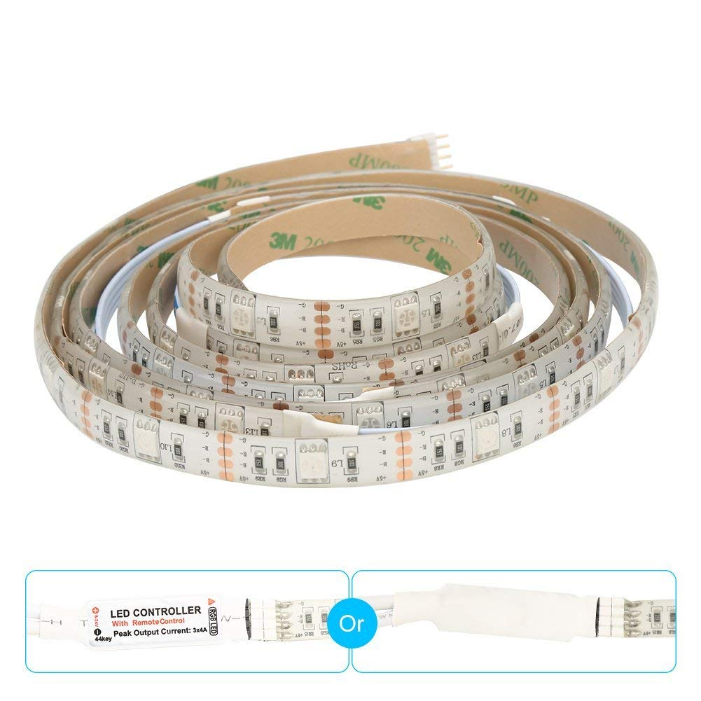 Snople USB 5V TV Backlight LED Strip Light Sync to Music 6.6FT/2M(no Need Cut) 5050 RGB Light Color Changing with IR Remote Controller IP65 Waterproof Bias Lighting for TV,PC,Desktop and etc