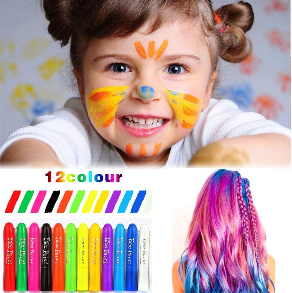 Etmury Tiza de Pelo, Temporal Cabello Tiza Color 12 Colores Coloración Color de Cabello Tinte no tóxico Color de Tiza para niñas y niños Pelo ...