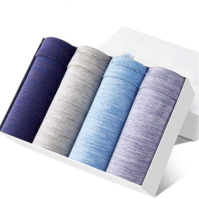 yutu 4 Ropa Interior de Hombre cargada de Color sólido, Boxer Transpirable, algodón,