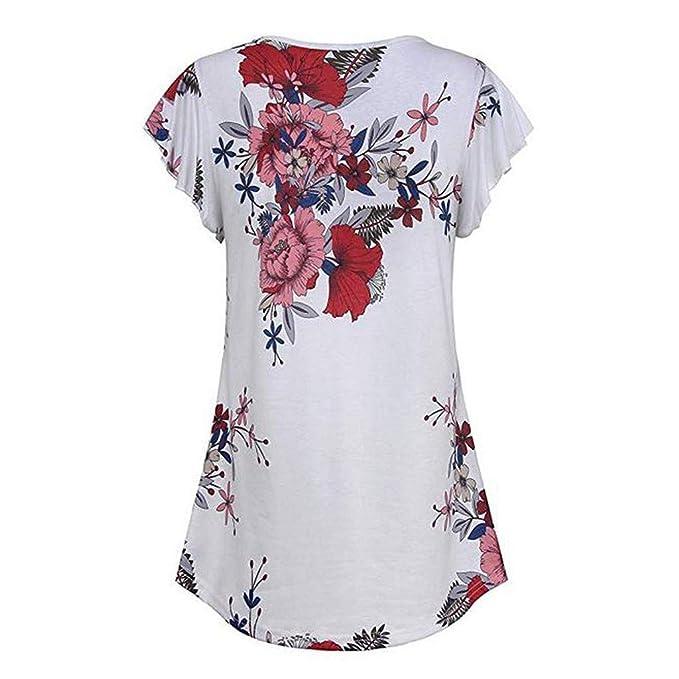 Camisetas para Mujer, ❤ ❤️URIBAKY Floral Crop Top Cami Sexy Verano Casual Sport sin Mangas Blusa Cami Camisas Moda Camiseta Chaleco Tops para Mujeres: ...