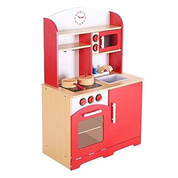 GOPLUS Kinderküche Spielzeugküche Spielküche Holz holzküche rot ...