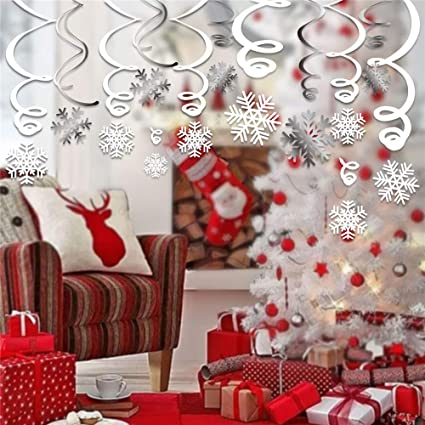 Hanging Christmas Decorations Ceiling.Luckkyy 30ct Snowflake Swirls Decoration Merry Christmas Snowflake Hanging Swirls Garland Foil Ceiling Ornaments For Xmas Winter Wonderland Holiday