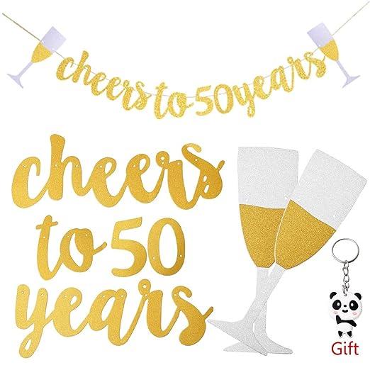 nuosen Glittery - Guirnalda de 50 cumpleaños para decoración ...