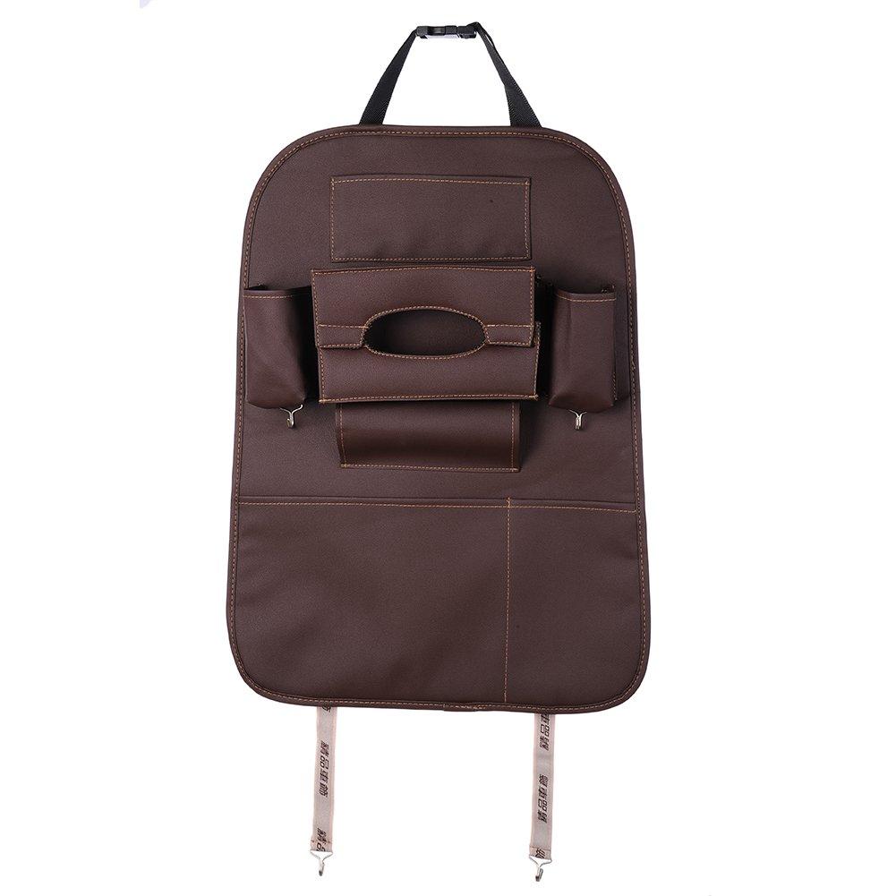 Multi-Function Car Seat Back Storage Bag High-grade PU leather storage bag car seat back receive bag hanging bag backpack Creative Car Storage Bag Car Back Bag (Beige) kaersishop