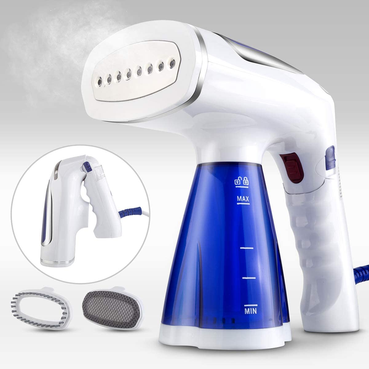 Ysxuan Portable Handheld Steamer for Clothes, 1600w Travel Steamer Iron with 200ml Detachable Water Tank and 2 Clothes Brushes, Handy Foldable Fabric Wrinkle Remover, 40s Fast Heat-up, Leak-Proof