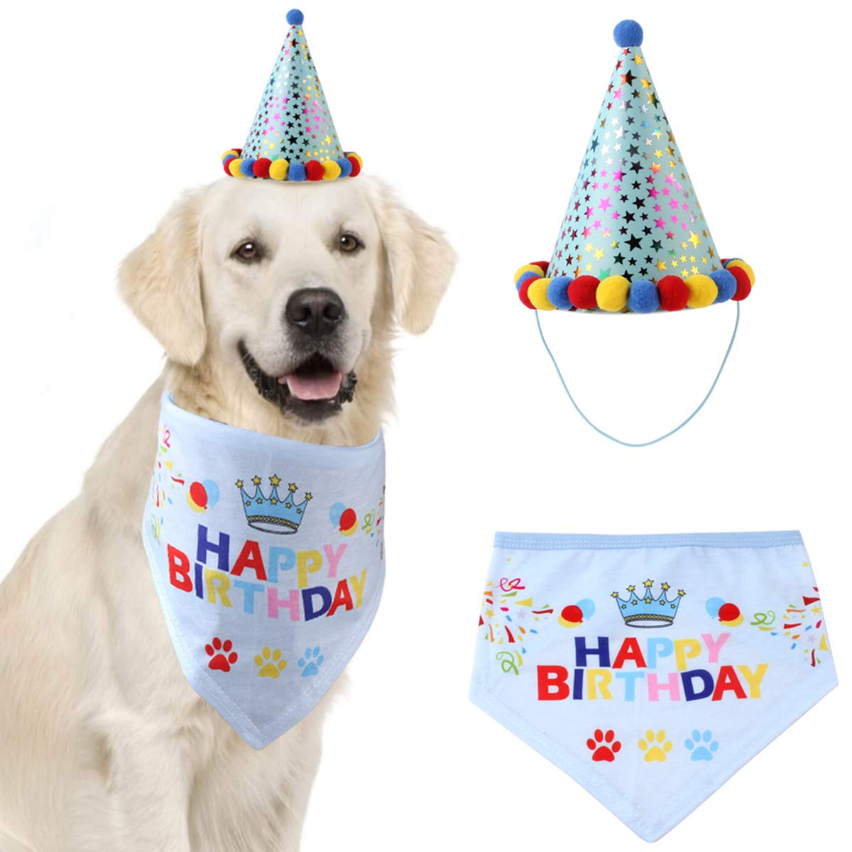 jskjlkl Dog Birthday Bandana Scarf with Party Cone Hat Pet Birthday Party Accessory Decorations Gift Supplies