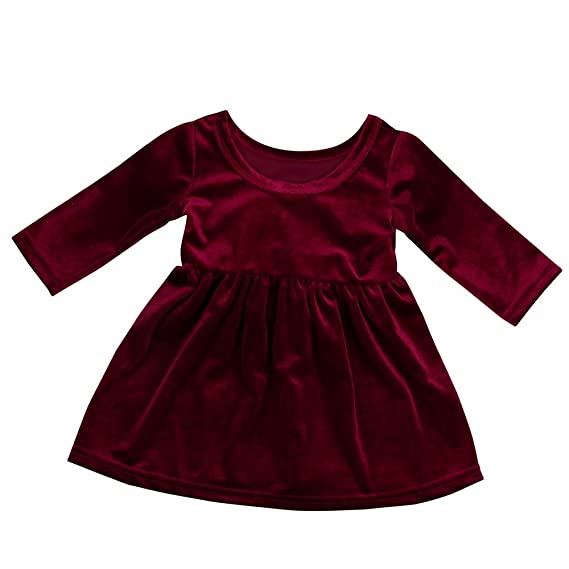 Amazon.com: Euone Girls Velour Tunic Dress Tops for 0-2 Years Old Baby Long Sleeve Dresses: Clothing