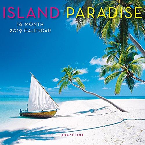 Graphique Island Paradise Mini Wall Calendar, 16-Month 2019 Wall Calendar with Island Landmark Photographs, 3 Languages & Major Holidays, 2019 Calendar, 7