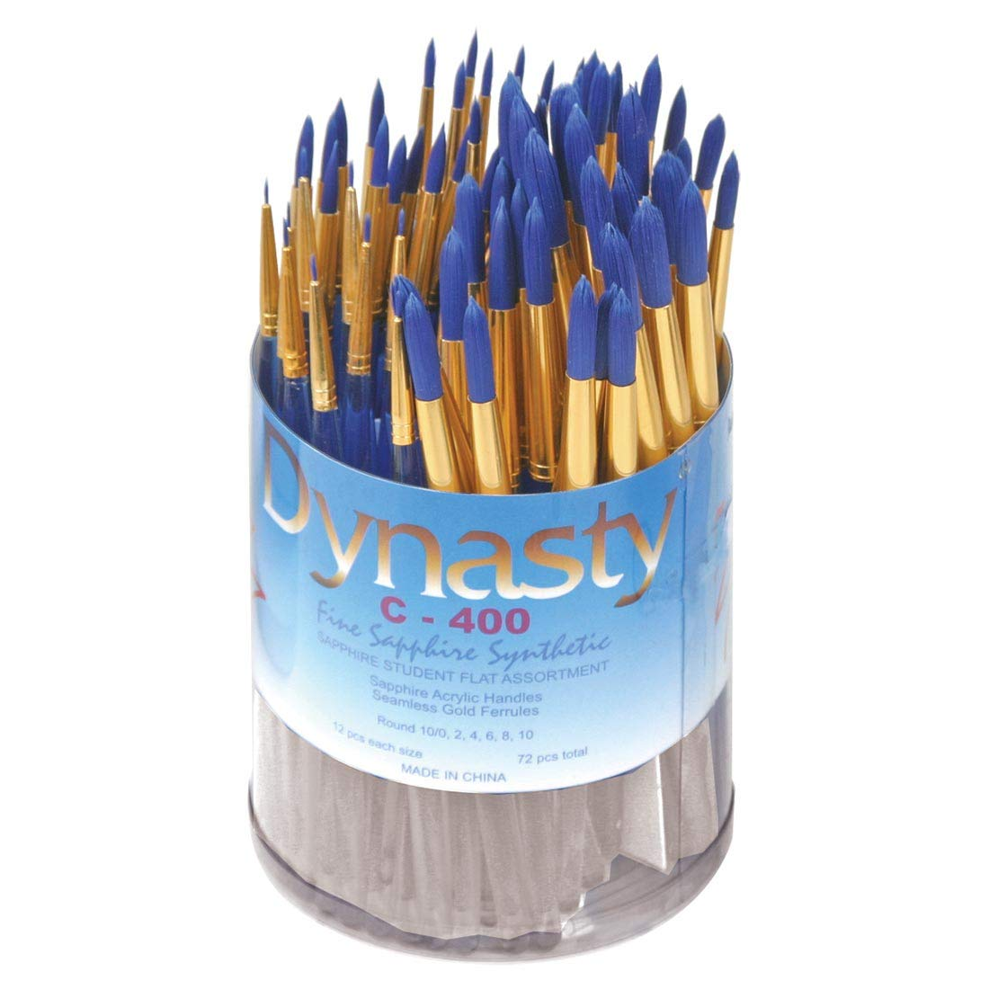 Dynasty C-400 Synthetic Round Brushes - Multiple Sizes - Set of 72 - Clear Handles with Blue Brushes by DYNASTY
