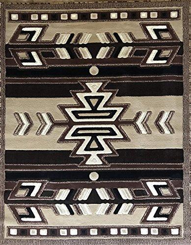 Southwest Native American Indian Area Rug Beige Brown Black Design 113 (5 Feet 2 Inch X 7 Feet 3 Inch)