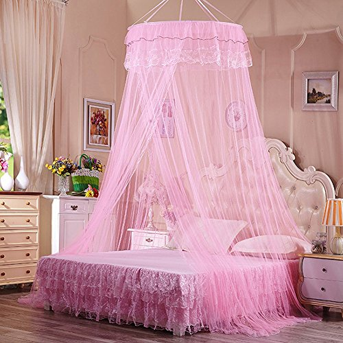 Mosquito Net Bed Canopy, Rusee Lace Dome Netting Bedding Double Bed Conical Curtains Fly Screen Netting Bug Screen Repellant - Repels Insects Carrying Malaria & Diseases For Home or Travel Use