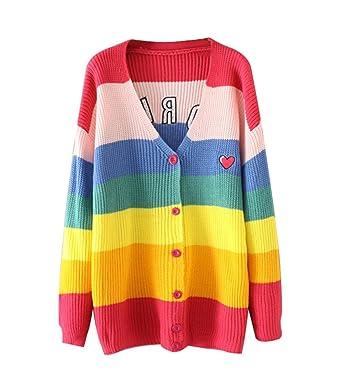 7b3307ee6e COCO clothing Patchwork Bunt Lose Sweater Strickjacke Damen Pulli Freizeit  Cardigan Lang Ärmel Dünne Coat Frauen Casual V-Ausschnitt Sweatshirt (bunt):  ...