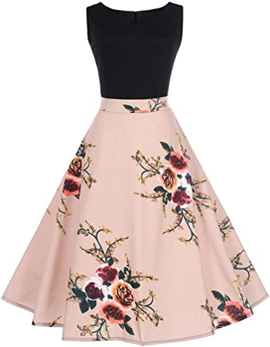 Homebaby Women Sleeveless Vintage Floral Bodycon Dress Girls Formal Evening Wedding Cocktail Party Retro Swing Dress Occasion Spring Dresses Wedding Outfits Plus Size S Xxl Amazon Co Uk Clothing