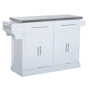 HomCom Modern Rolling Kitchen Island Storage Cart W/ Stainless Steel Top    White