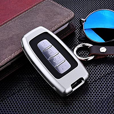 [MissBlue] Aircraft Aluminum Key Fob Cover For KIA Remote Key, Protector Case Fits KIA K2 K5 Soul Sportage R Shuma Borrego Car Key, Unisex Leather Key Fob Keychain for Men Key Holder for Women