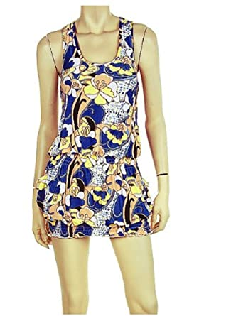 09961713544 Sexy Floral Blue Summer Bubble Mini Dress (Large) at Amazon Women s ...