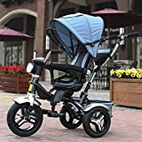 QXMEI Children's Tricycle Bicycle Baby Stroller 1 to 4 Years Old Stroller with Awning,A