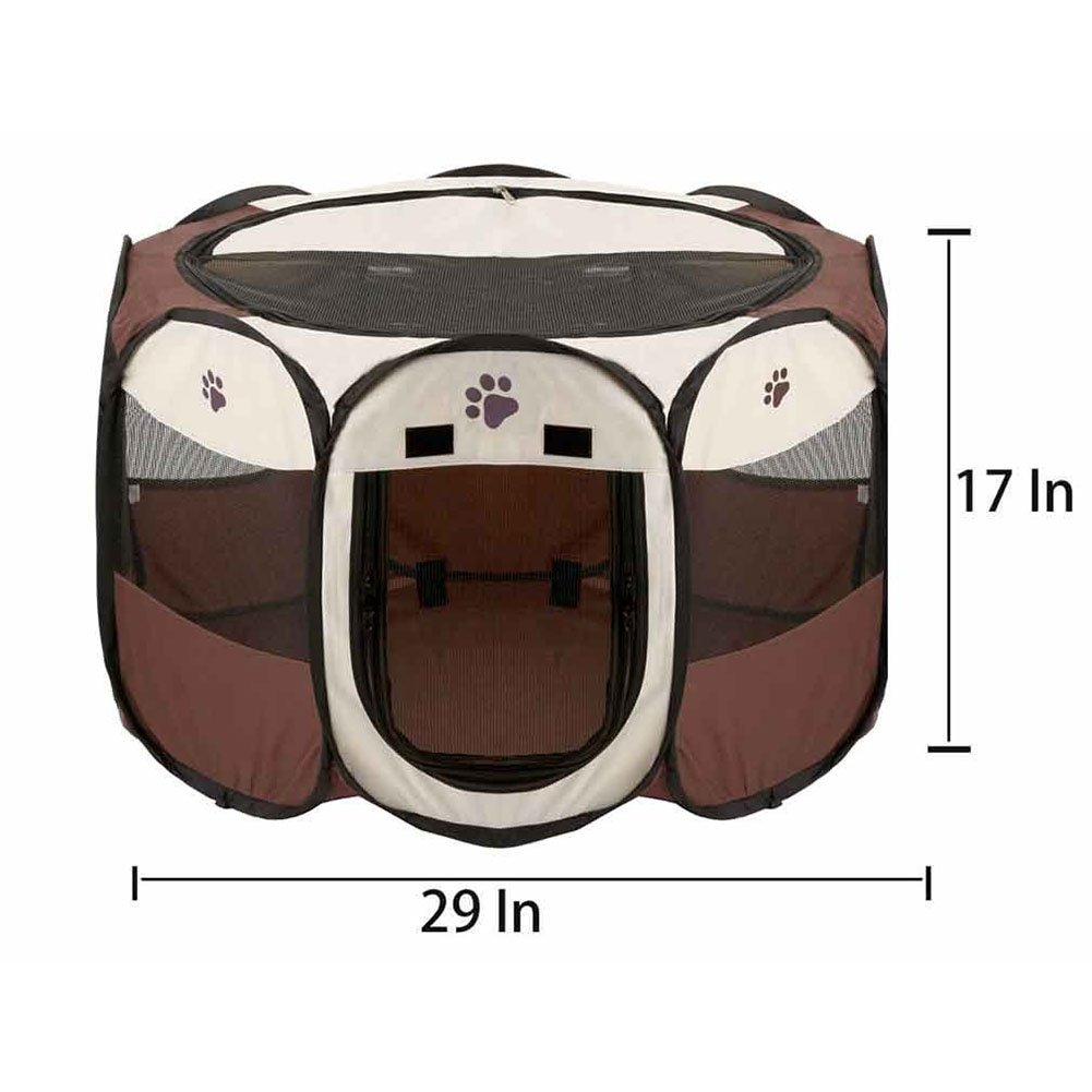 Brown Zehui Portable Foldable Pets Fence Oxford Cloth Cats Dogs Outdoor Removable Bed Tent