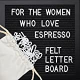 ONE Day Sale!! Black Felt Letter Board for Classic Women 10x10 inches. Premium Espresso Wood Frame - Sign Board, 362 Changeable White Plastic Letters, Numbers & Symbols, Espresso Stand & Bag