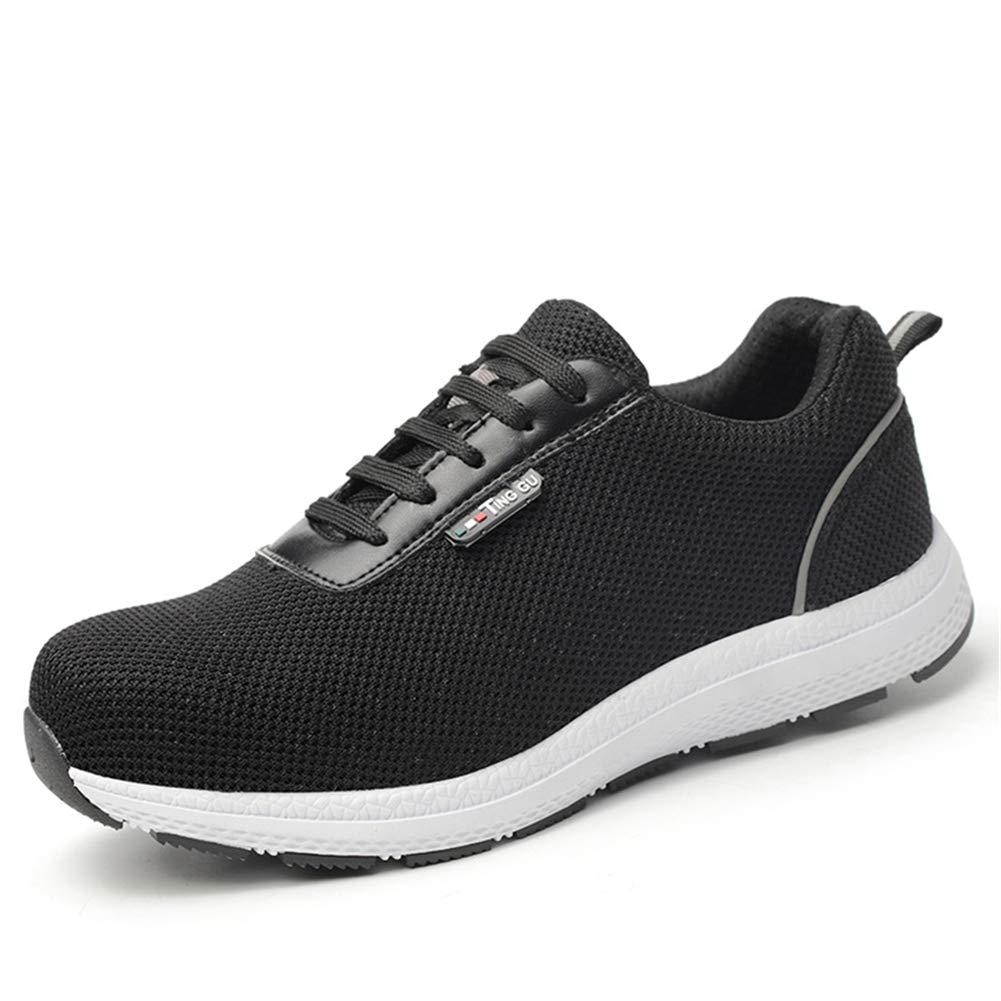 Zapatillas de Seguridad para Hombre con Cordones Zapatos de Senderismo Trekking Calzado de Industrial Deportiva Negro Azul 36-46