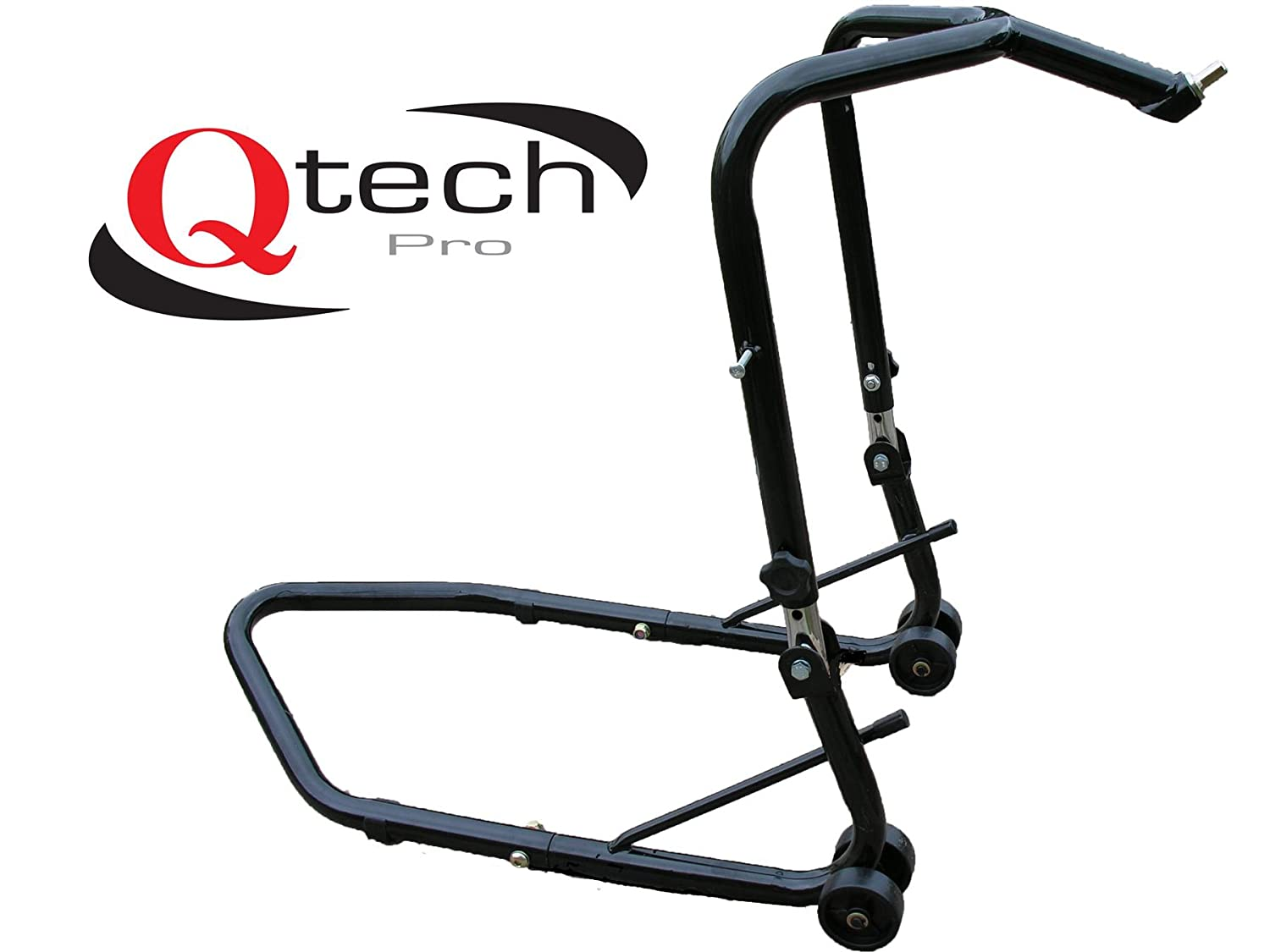 Qtech Motorcycle Motorbike Front Wheel jack Lift Height Adjustable Paddock STAND with 160kg Lift Capacity Headstock Head Track Head Lift