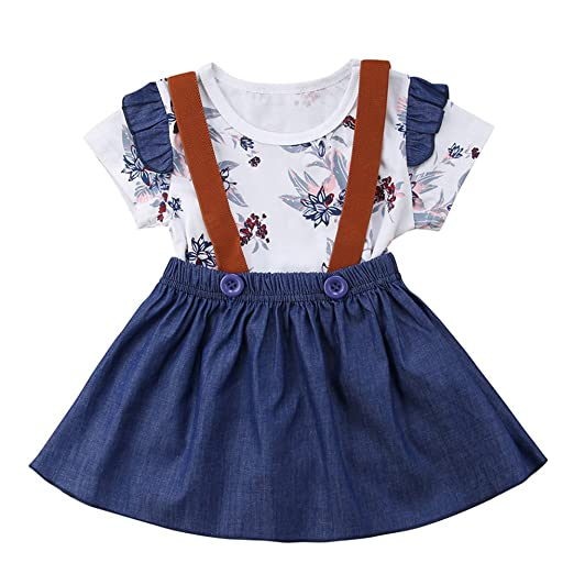 769bb63b88 Infant Baby Girl Lace Ruffle Sleeve Polka Dot Print Romper + Button Strap Dress  Outfit Set