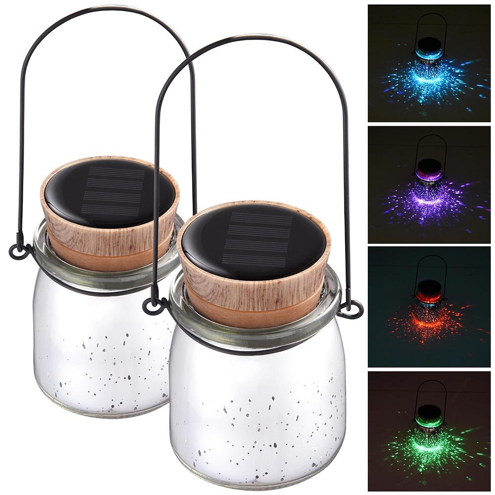 Yescom 2 Pack Solar Powered Jar Light LED Color Changing Hanging Lamp Garden Yard Patio Outdoor Decor