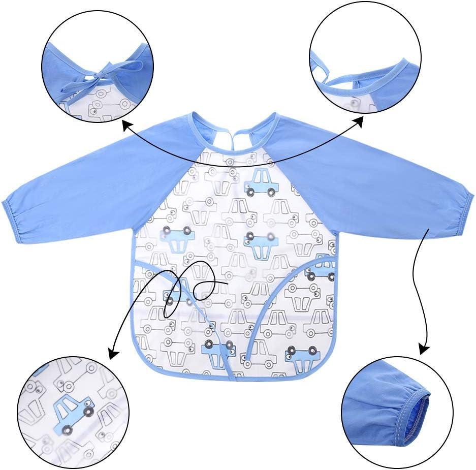 Blue Car + Blue Dinosaur 6-24 Months Baby Bibs Long Sleeved Bib Bandana Bibs Drool Baby Bib Toddler Bib Waterproof and Washable for Boy Girls metagio 2 Packs Baby Bibs with Sleeves