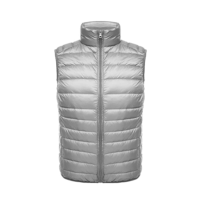 Ake Hombre Chaleco de Pluma Stand Collar Chaleco de Pluma Down Chaquetas Ultra-Light Weatherproof Coat: Amazon.es: Ropa y accesorios