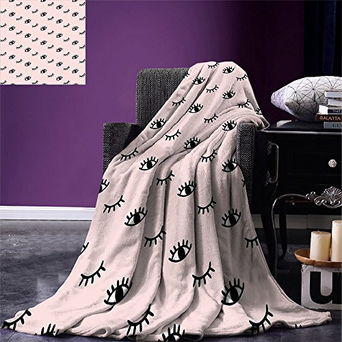 smallbeefly Eyelash Throw Blanket Doodle Style Open and Closed Eyes Hand Drawn Sketch Abstract Cute Kids Design Warm Microfiber All Season Blanket for Bed or Couch Rose Black White