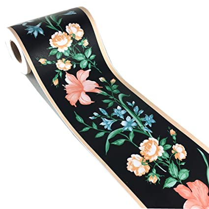 Elegant Black Floral Wallpaper Border Peel And Stick Wall Decal Sticker For Wall Ceiling Bathroom Kitchen 4 2inch By 32 8ft