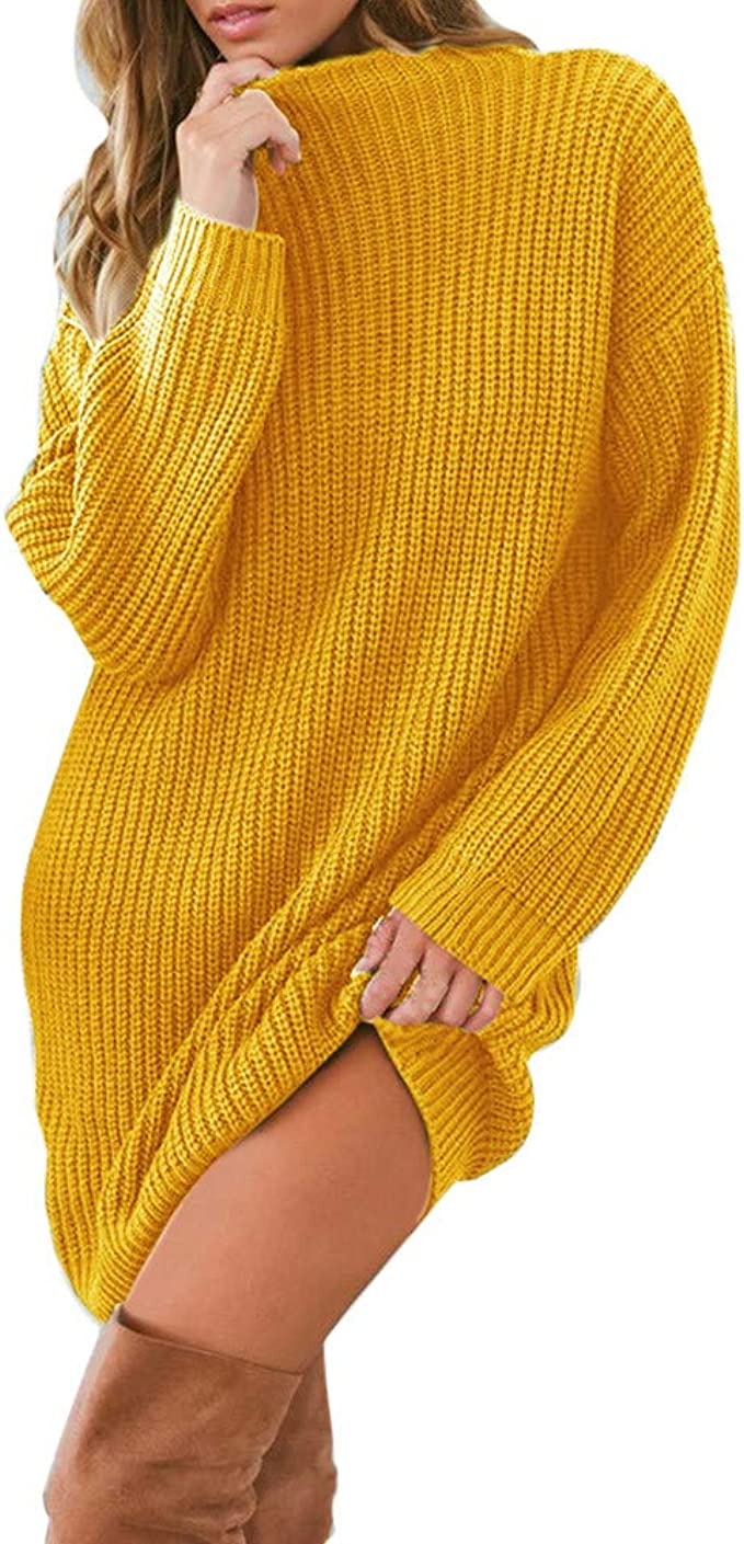New Womens High Polo Neck Chunky Cable Knitted Jumper Mini Tunic Dress Top