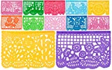 "Plastic Medium Mexican Papel Picado Banner""Salio El Sol"" - 12 Tissue Panels Multi-Colored - Designs and Colors as Pictured by Paper Full of Wishes"