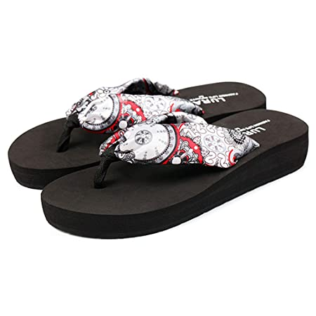 812a7ef0f Flip Flops WYQLZ Women s Fashion Bohemia Thick Bottom Non-slip Summer  Outdoor Beach Casual Sandals