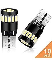Anpro 10 Paquetes T10 LED Canbus Bombillas,T10 W5W LED Blanco Super Brillante W5W T10 194 168 2825 158 175 21-SMD 4014 6000K,Luz para Coche