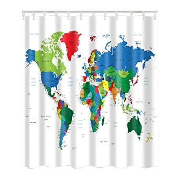 Xinhuaya World Map Shower Curtain Geologist Gifts Educational Geographical Earth Journeys Voyager Novelty Modern Home