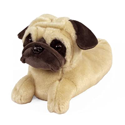 Amazon.com | AnimalSlippers.com Pug Slippers - Plush Dog Animal Slippers Tan, 9-12 Women/7-10 Men | Slippers