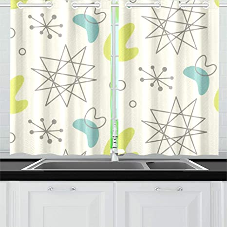 Vnaskl Mid Century Modern 1950 S Kitchen Curtains Window Curtain Tiers For Cafe Bath Laundry Living Room Bedroom 26x39inch 2pieces Home Kitchen