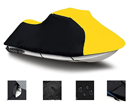 BLACK / YELLOW SUPER HEAVY-DUTY, PWC 600D JET SKI Cover Sea Doo Sea-Doo  Bombardier XP Limited 1994 1995 1996 1997 1998 1999 1-2 Seater