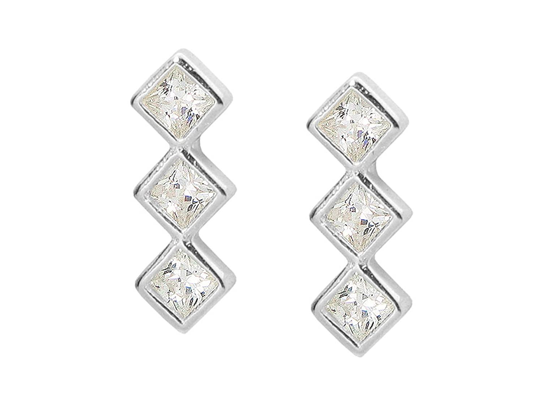 Sterling Silver Rhodium Plated Trio CZ Gemstone Shaped Stud Earrings