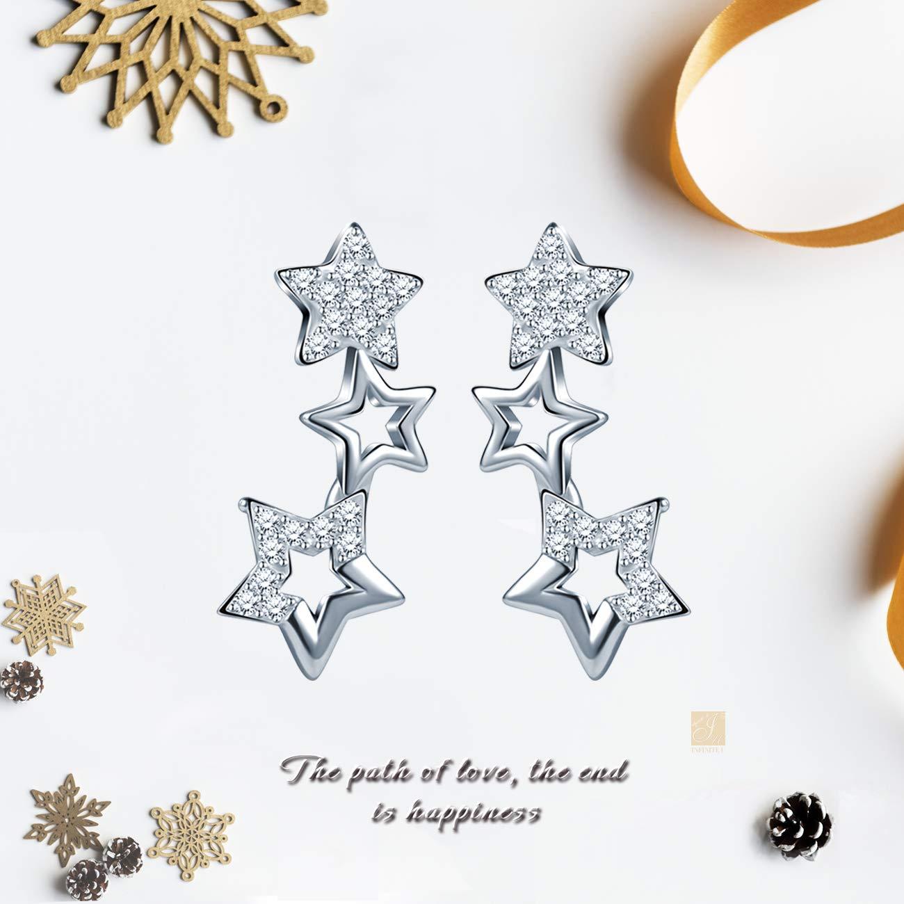 Unendlich U Elegant 3 Sternchen Sterne Damen Ohrstecker 925 Sterling Silber Zirkonia Stecker Ohrringe Ohrschmuck Silber
