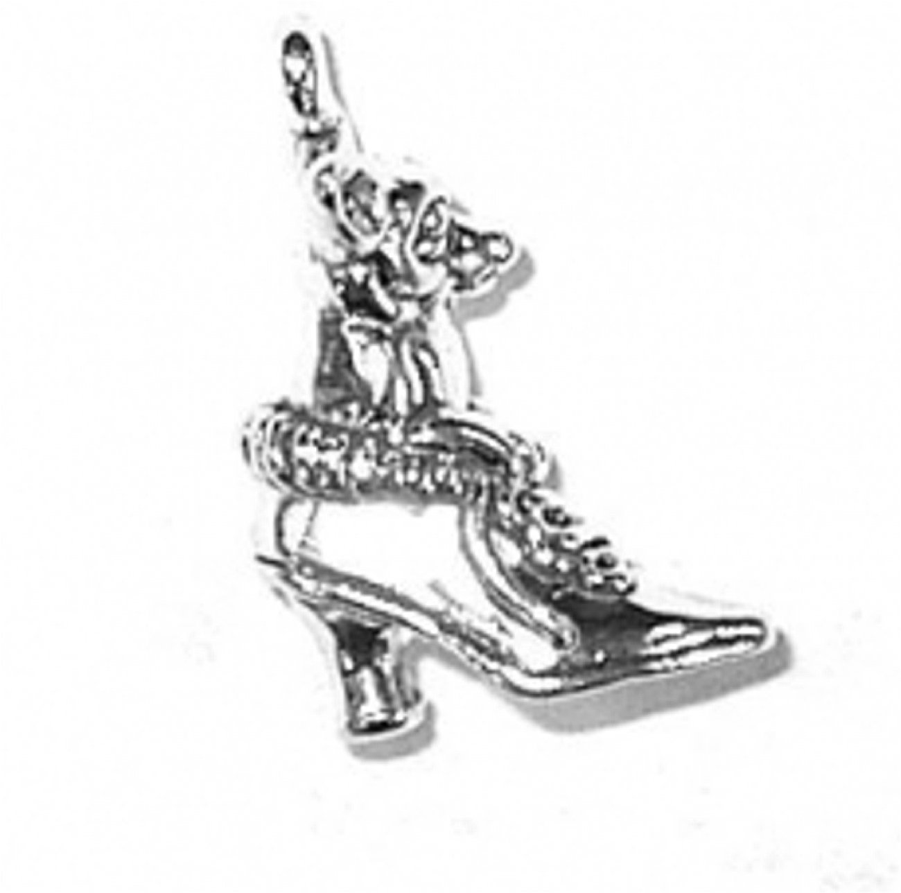 Sterling Silver 3D Chihuahua Pet Dog Sitting Up In Lace Up Shoe Boots Charm Bead For Bead Bracelet