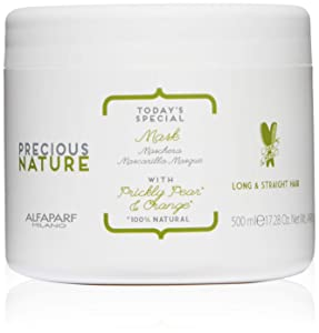 Alfaparf Milano Precious Nature Long & Straight Hair Mask - Anti-Frizz - Enriched with Prickly Pear Oil and Orange Extract - Professional Salon Quality - Smooths and Softens - 17.28 fl. oz.