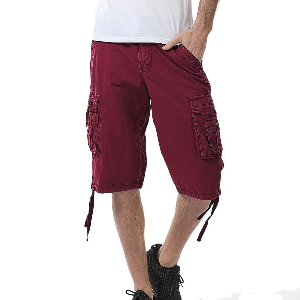 WUAI Clearance Men's Swim Trunks Gym Casual Sports Jogging Fashion Comfy Summer Beach Cargo Shorts (Wine Red, 32)