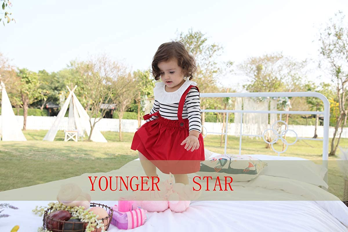 YOUNGER STAR Toddler Girls Outfits 3pcs Baby Romper Clothes Set Girl Floral Jumpsuit+Strap Skirt Outfits