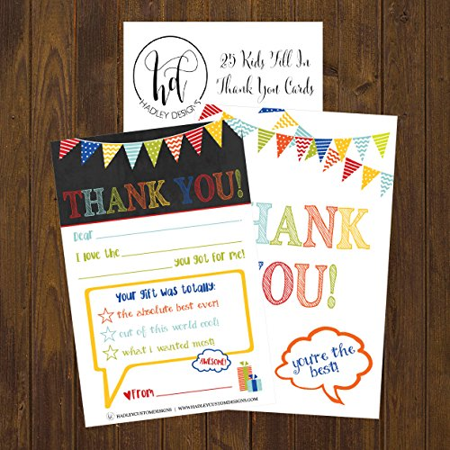 25 Rainbow Banner Kids Thank You Cards, Fill In Thank You Notes For Kid, Blank Personalized Thank Yous For Birthday Gifts, Stationery For Children Boys and Girls Photo #4