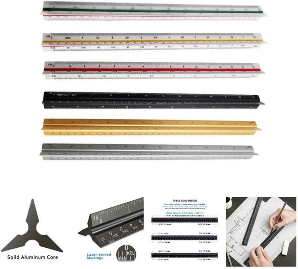 30CM Architect Scale Ruler,Architectural and Engineer Scale Ruler Set Professional Laser Etched Scales Drafting Rulers for Blueprints and Civil Engineering