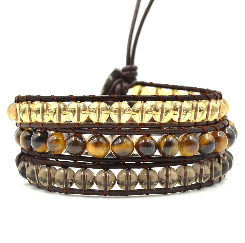 Mirilya Crystals and Healing Stones Bracelet Citrine Tiger-Eye Smoky-Quartz for Anxiety Depression Stress